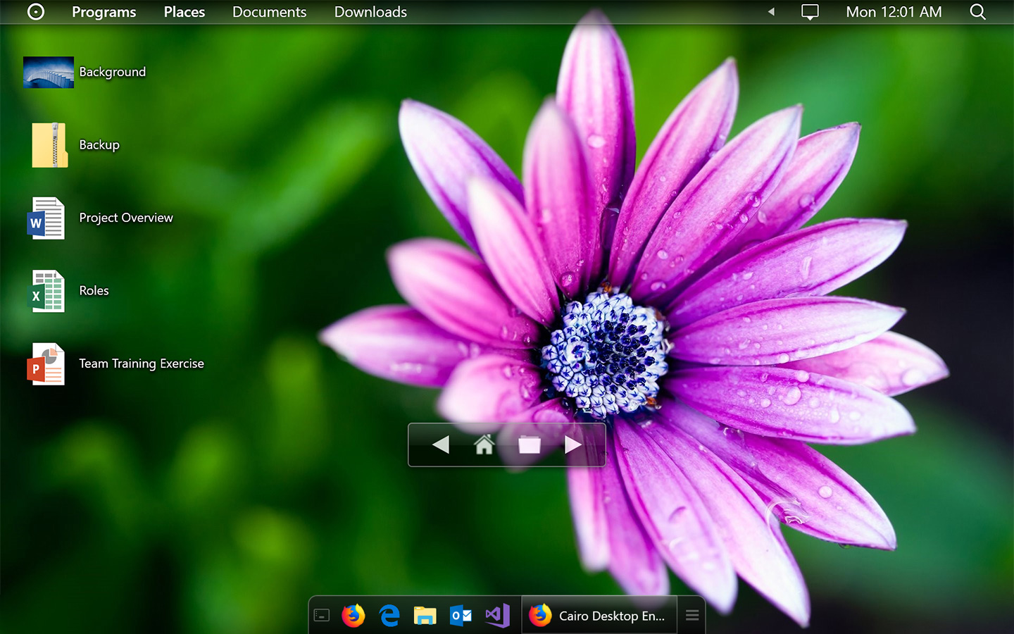 Desktop controls screenshot